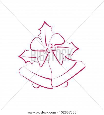 Sketch composition two Christmas bells with holly berry and bow