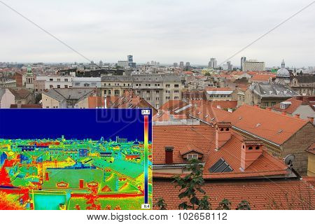 Infrared And Real Image Panorama Of Zagreb