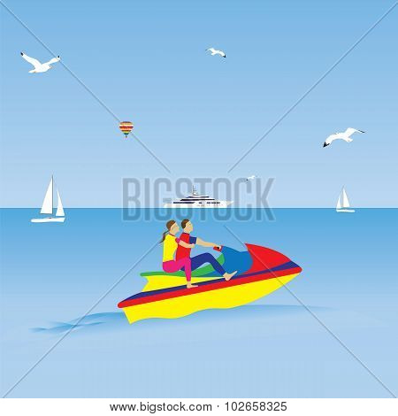 Couple On A Jet Ski. Summer Vacation. Water Sports.
