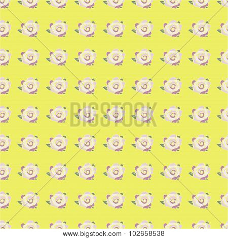 seamless pattern with pink rose on yellow background