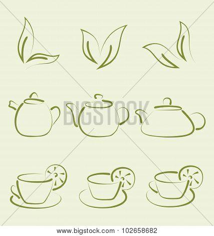Herbal tea, set cups and teapots