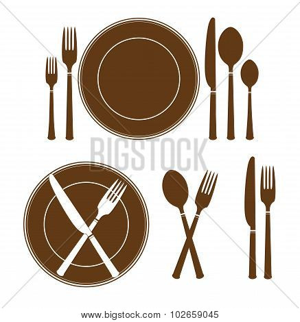plate knife and fork icon
