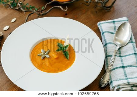Pumpkin Soup In White Modern Plate, Dietary Vegetable