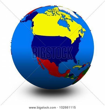 North America On Political Globe Illustration