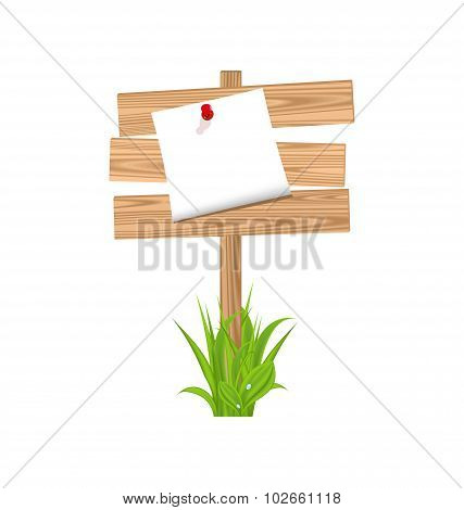 Wooden signpost with announcement, grass