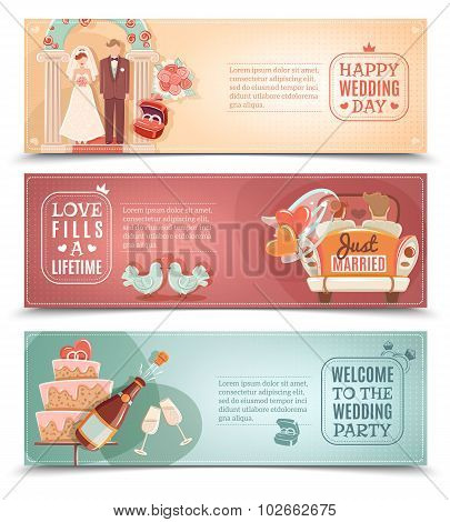 Wedding concept flat banners set