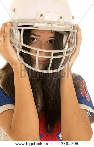 Cute Teen Female Wearing An American Football Helmet