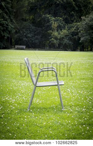 Shot Of A Metal Chair In A Park