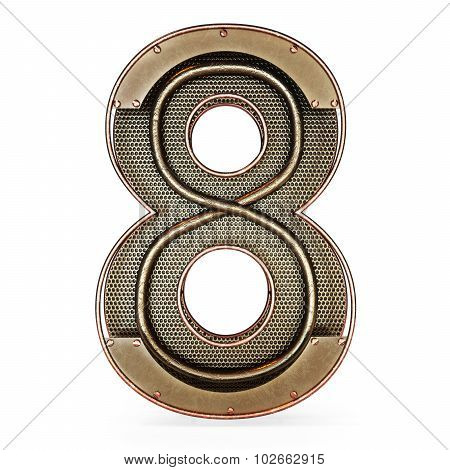 3d number eight 8 symbol with rustic gold metal