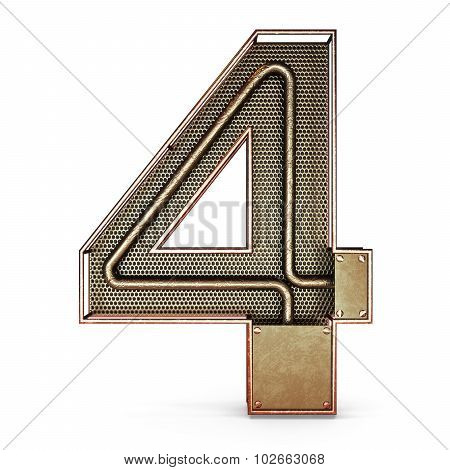 3d number four 4 symbol with rustic gold metal