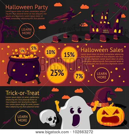 Set of halloween flat banners - Halloween party, Sale, Trick-or-treat. Vector