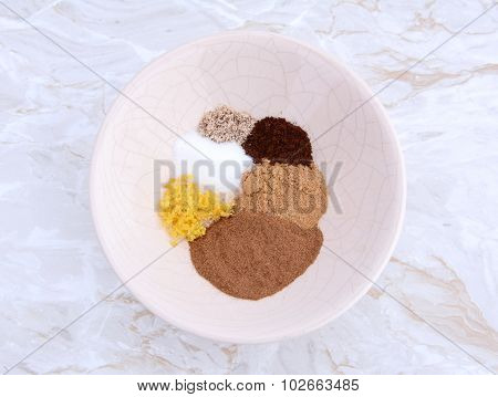 Bowl Of Spices For Pumpkin Pie