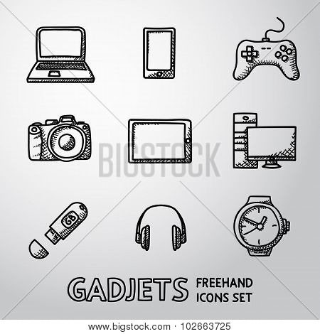Set of handdrawn GADGET icons with - notebook, phone, gamepad, photo camera, tablet, pc, flash card,
