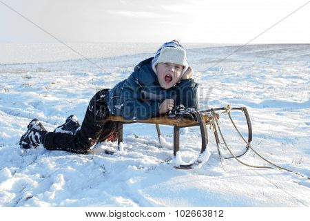screaming boy in winter