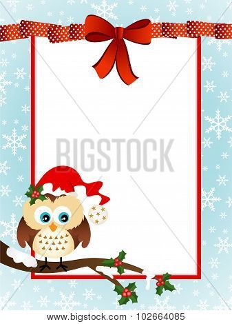 Cute Owl Christmas Greeting Card