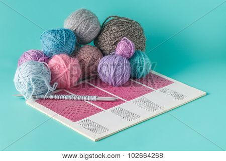Leisure  Concept. Colored Clew Of Yarn For Knitting
