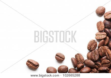 Corner Decoration Of Coffee Beans On White Background