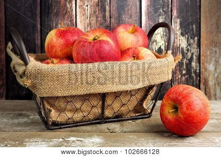 Fresh apples in vintage wire basket against rustic wood