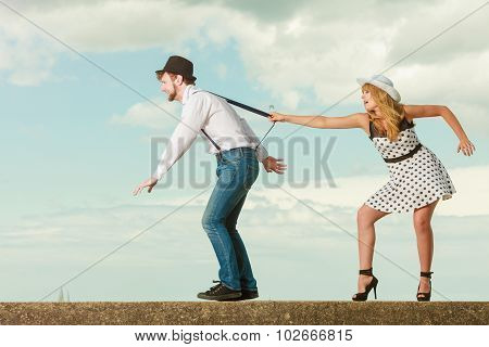Loving Couple Playing On Date By Sea Coast