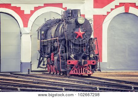 Old Retro Steam Locomotive