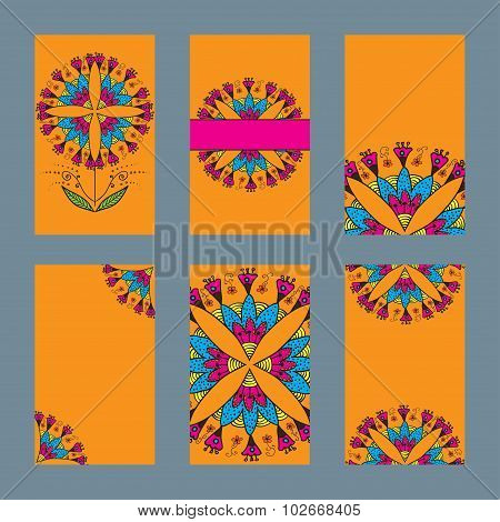 Six design card with indian ornament