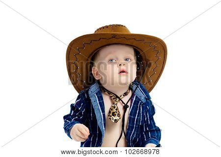 Little Boy In Cowboy Hat And Tie