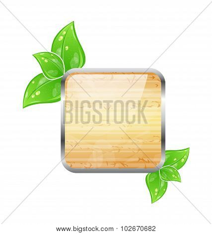 Wooden square board with eco green leaves