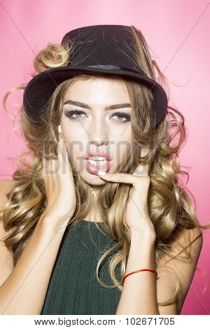 Fashionable Girl In Hat