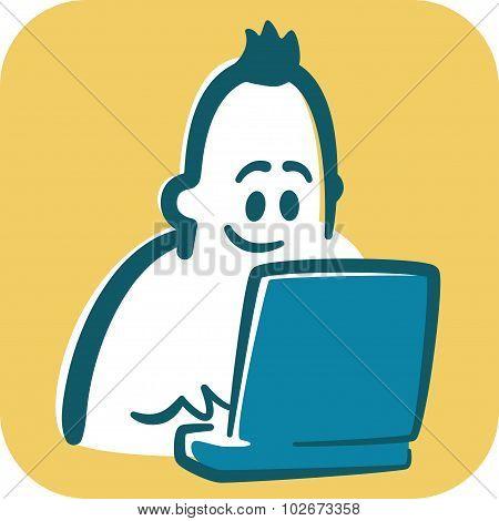 Cartoon young man typing on laptop.