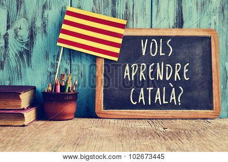 a flag of Catalonia and a chalkboard with the question vols aprendre catala?, do you want to learn Catalan? written in Catalan in it