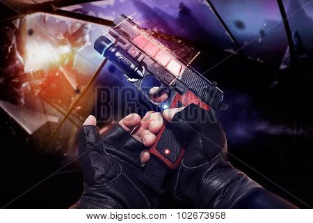 Hand in black gloves holding a red neon recharging handgun.