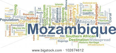 Background concept wordcloud illustration of Mozambique