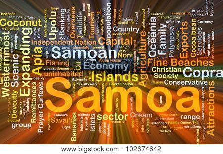 Background concept wordcloud illustration of Samoa glowing light