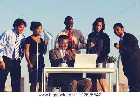 Business People Having Fun Desk Rooftop Concept