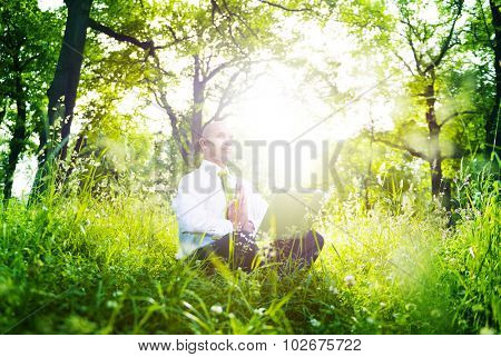 Green Businessman Meditation Technology Peaceful Concept