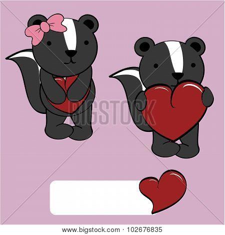 cute skunk girl and boy cartoon