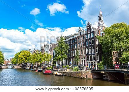 Amsterdam Canals And  Boats, Holland, Netherlands.