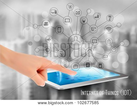 Hand holding a tablet or smartphone, revealing a net of wireless controlled devices. Vector.