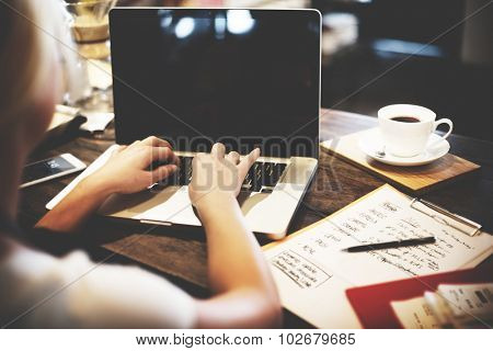 Business Woman Working Planning Ideas Concept