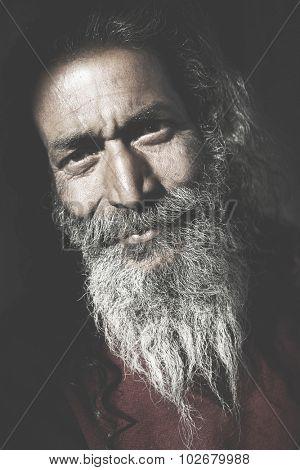 Indigenous Senior Indian Man Looking Camera Concept