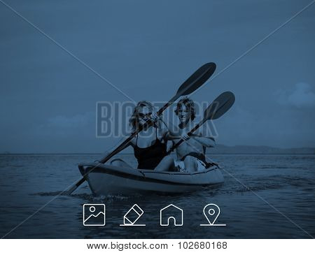 Kayaking Adventure Happiness Recreational Pursuit Couple Concept