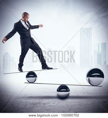 Businessman skill of balance