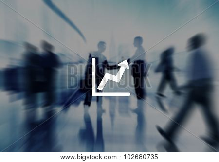 Graph Icon Arrow Agreement Business Corporate City Concept