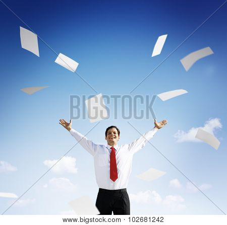 Businessman Accomplishment Achievement Success Happiness Concept