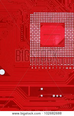 Red Circuit Board Texture Background Of Computer Motherboard