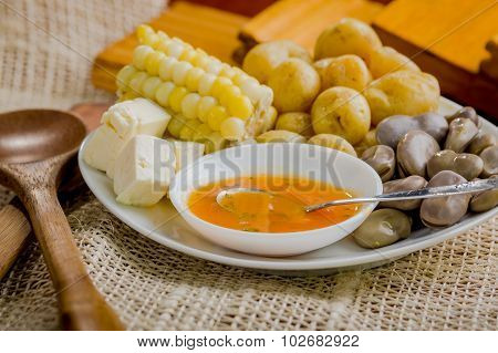 Closeup of mixed white platter with typical latin fried foods. abbas, cheese and salsa bowl delicate