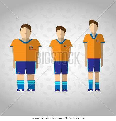 Football Players In Orange Sportswear