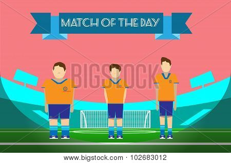 Three Soccer Players On Football Stadium