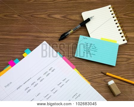 English; Learning New Language Writing Words On The Notebook