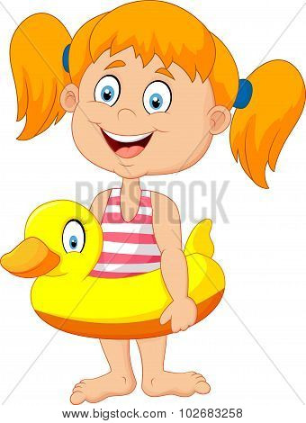 Cartoon Girl with inflatable ring